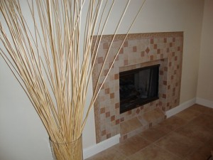 Living Room After - Fireplace Custom Tile