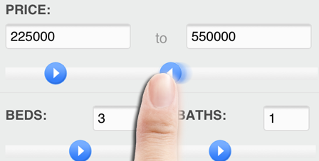 real estate home search input sliders