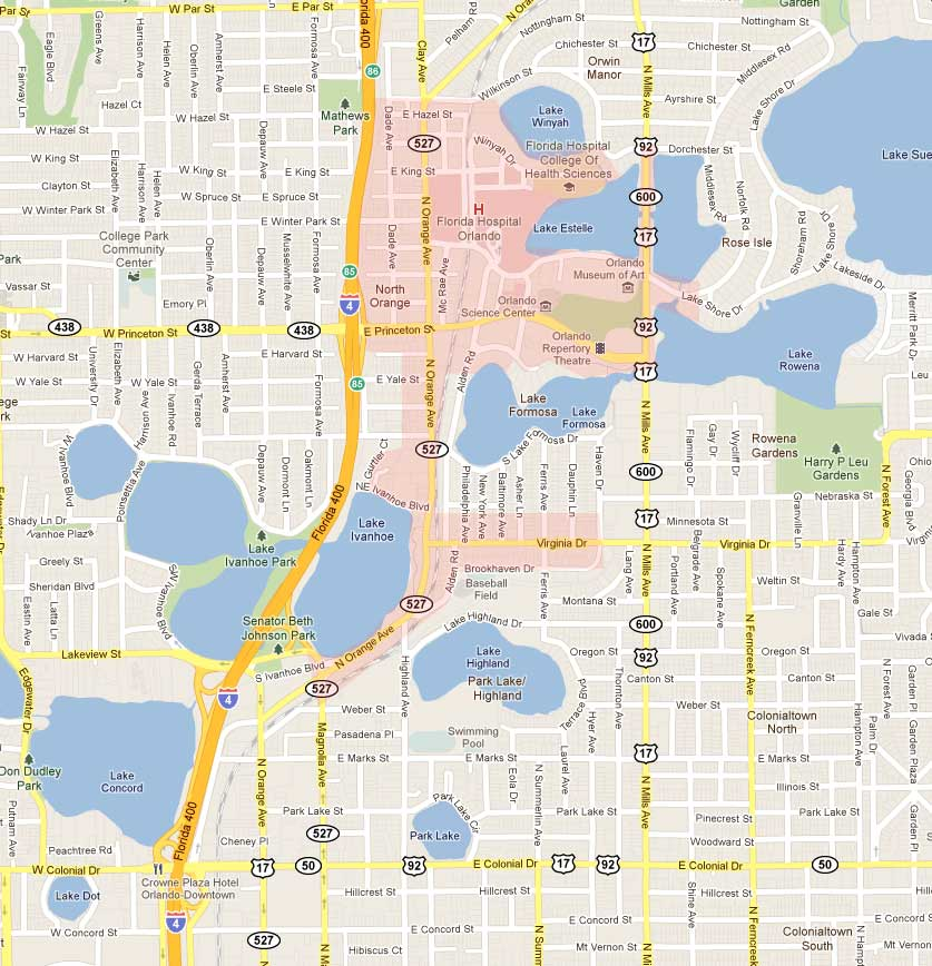 Map of Ivanhoe Village Orlando
