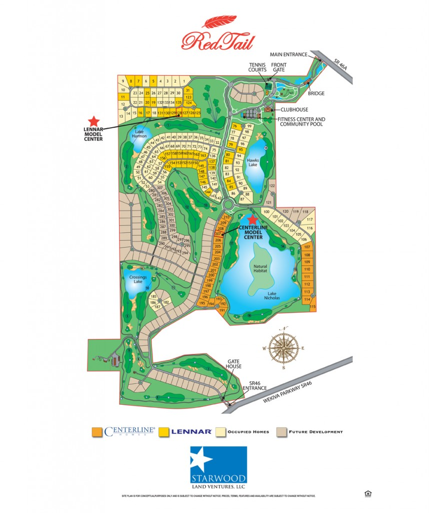 Redtail Sorrento Site Map of Homes