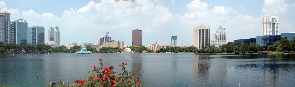 Downtown Orlando Skyline by Lake Eola